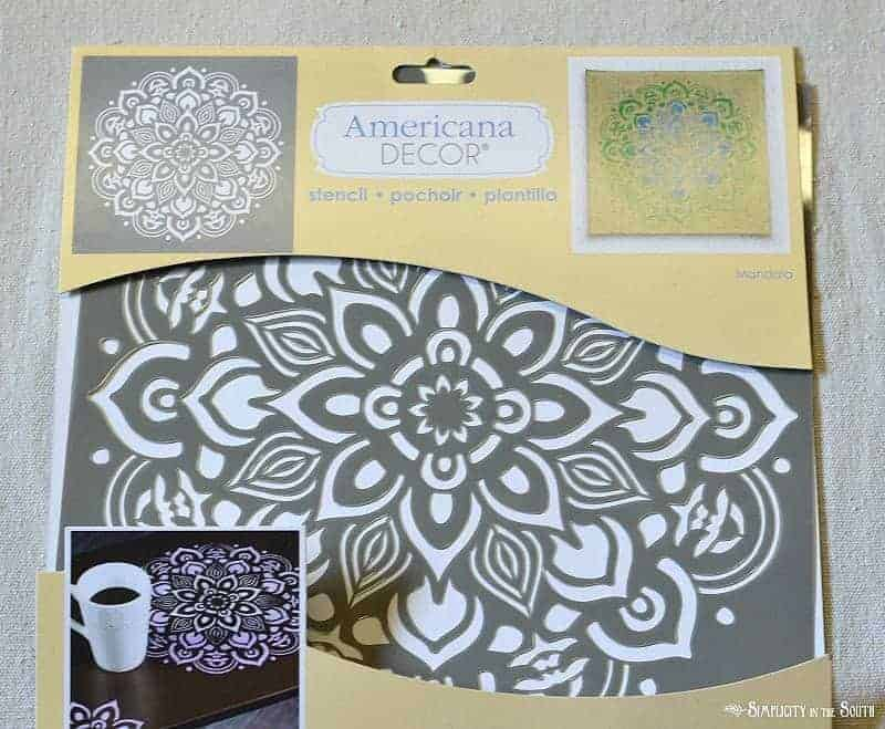Stencil found at Home Depot How to make a stenciled dropcloth table runner