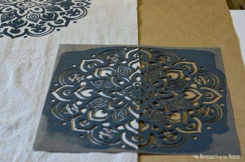 Stenciled dropcloth table runner tutorial