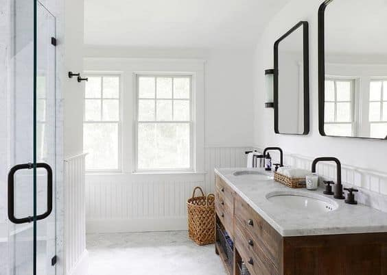 Modern Farmhouse Bathroom Mirrors By Restoration Hardware Via Jamie Nesbitt Weber Interior Design