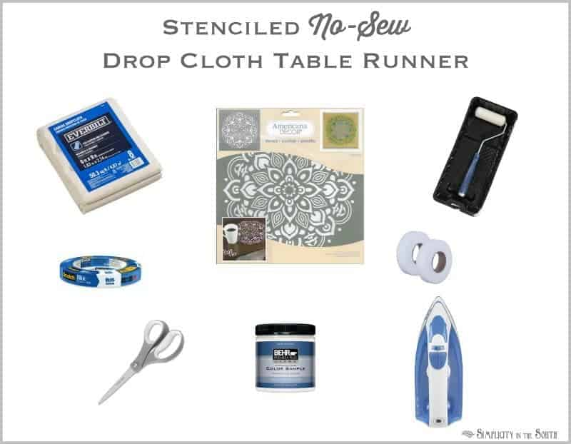 supplies you'll need to make a no sew stenciled table runner from drop cloth