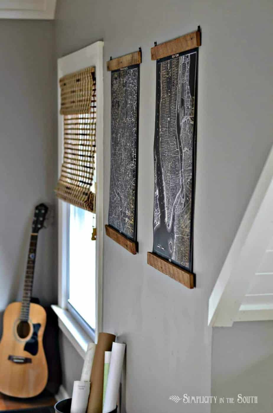 Cheap And Easy DIY Wooden Poster Hangers Simplicity In The South - New york map restoration hardware