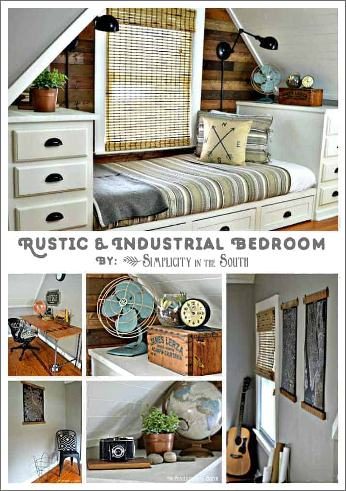 Rustic and industrial bedroom
