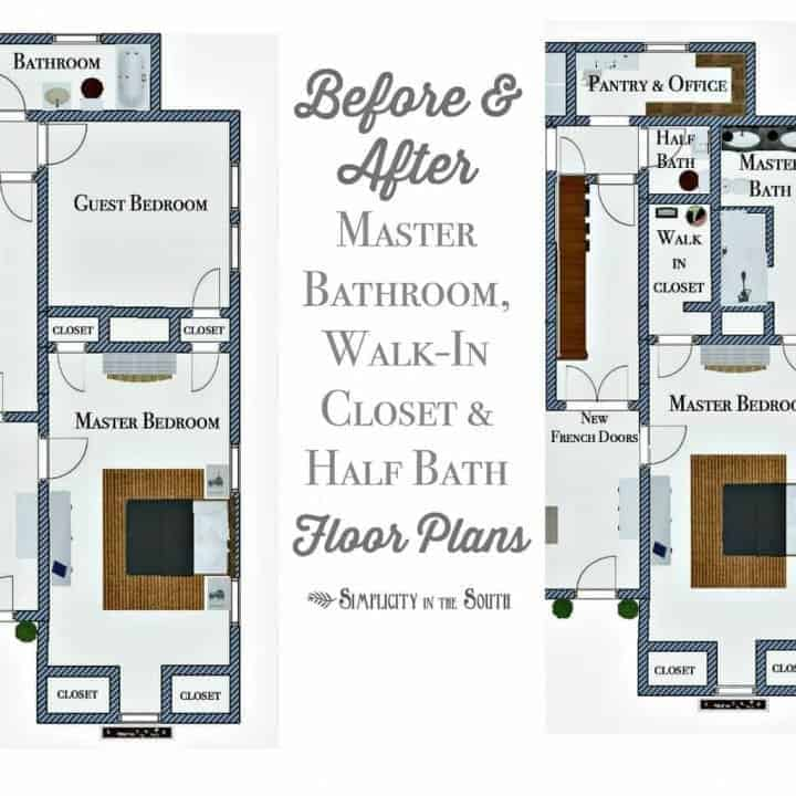 Before and after layout of the master bathroom, walk-in closet and half bath floor plans
