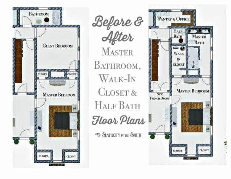 Before and after master bathroom, walk-in closet and half bath floor plans