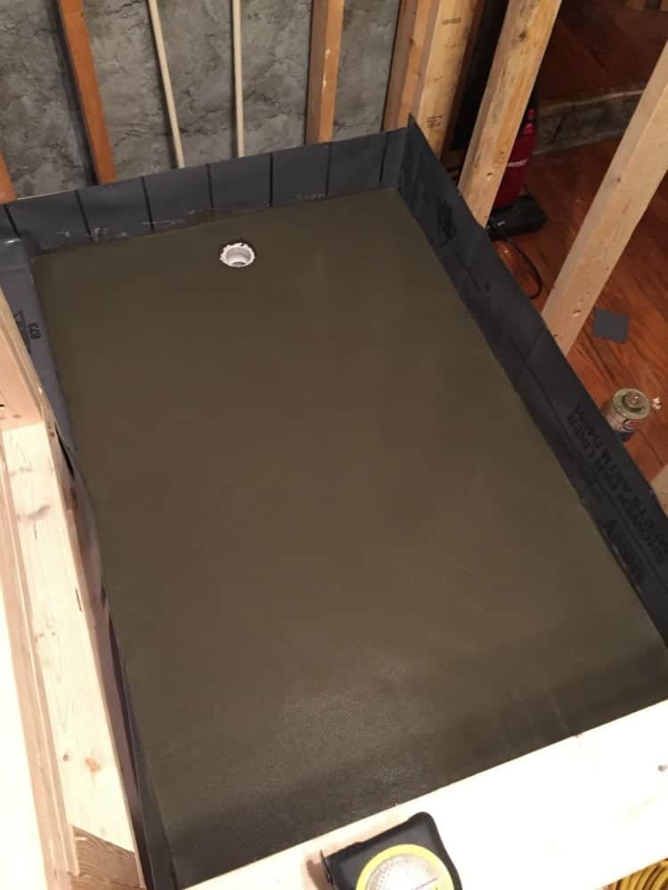 master bathroom remodel- lining and mudding the shower floor for an infinity drain