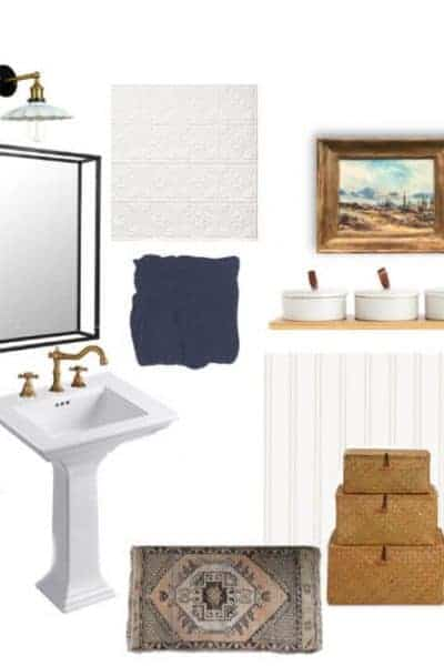 Powder room design board vintage modern