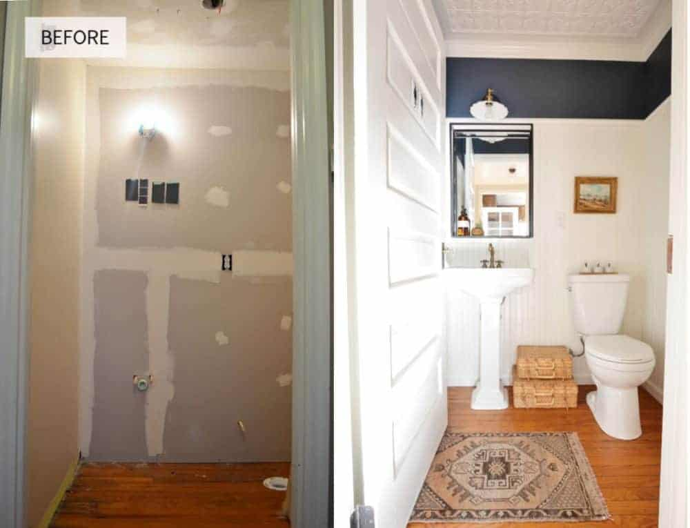 Half bathroom before and after remodel pictures