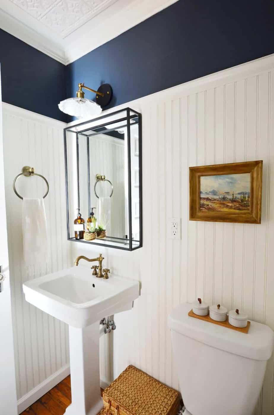 Navy and white vintage modern powder room