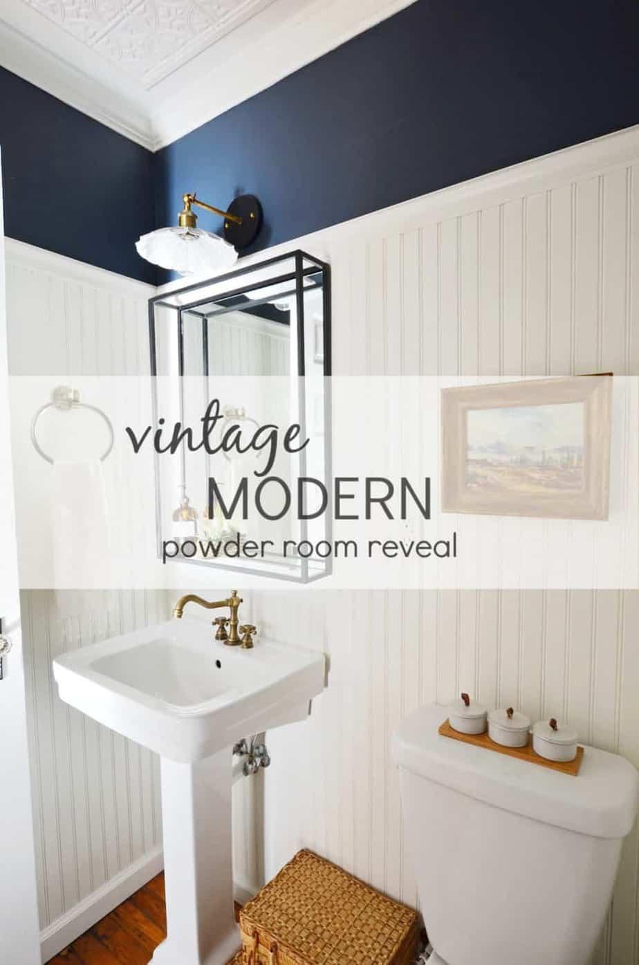 Vintage modern navy powder room reveal