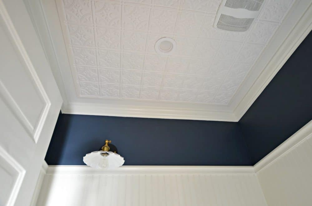 how to install a faux tin ceiling and beadboard walls