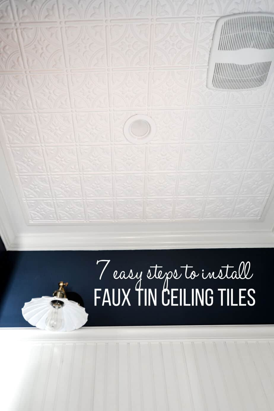 how to install faux tin ceiling tile panels