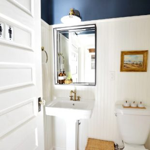 navy and white powder room with beadboard