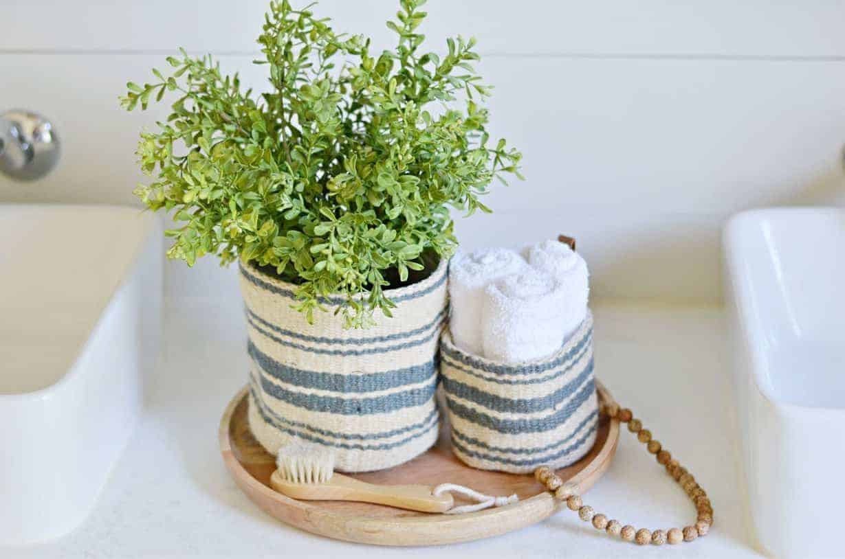striped jute storage baskets- bathroom organization