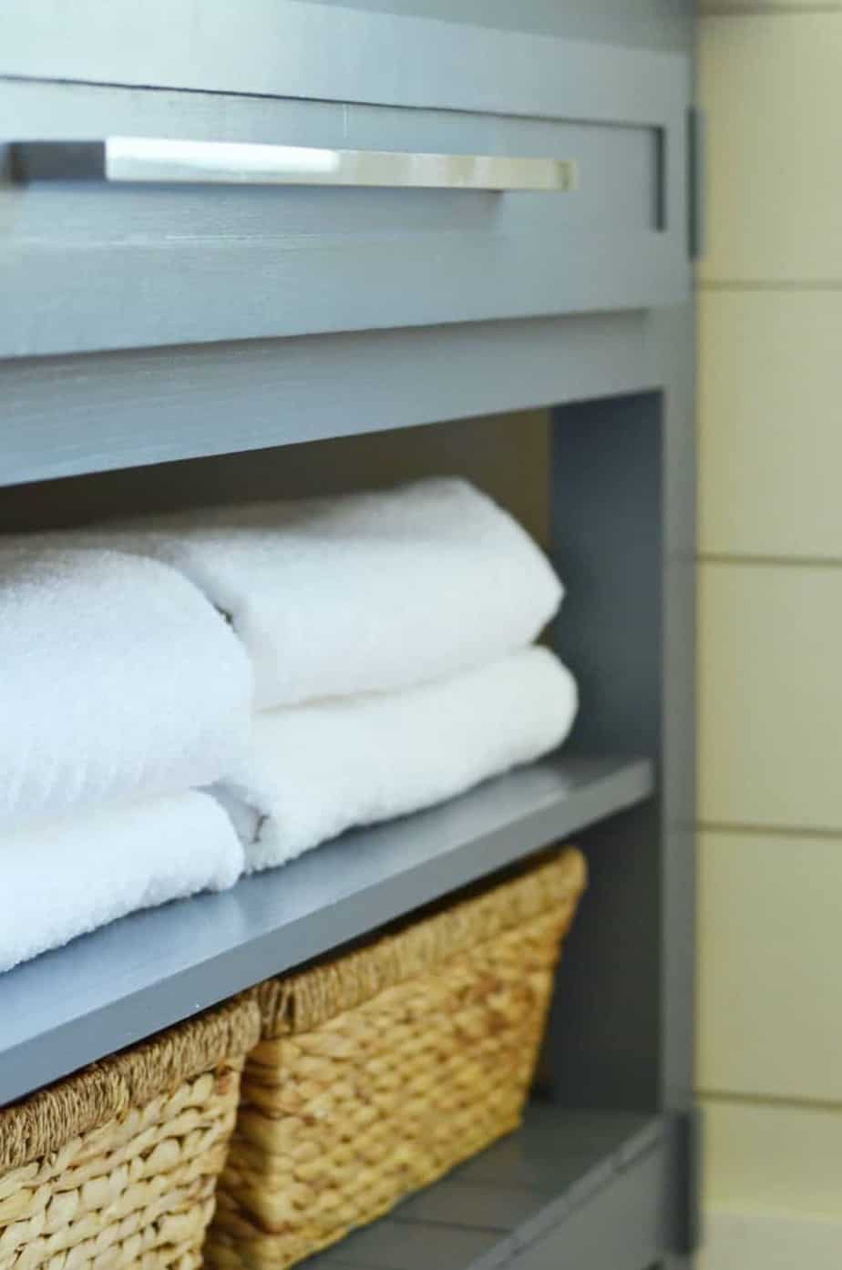 under the sink basket and bathroom towel storage