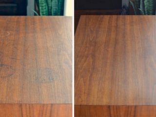 before after how to get black water stains out of wood furniture