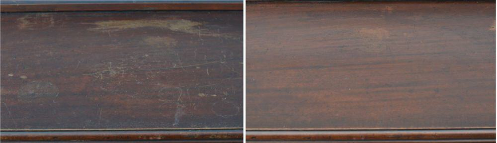 How to restore furniture without stripping: before & after using Howard Restor-A-Finish for removing white water stains and scratches.
