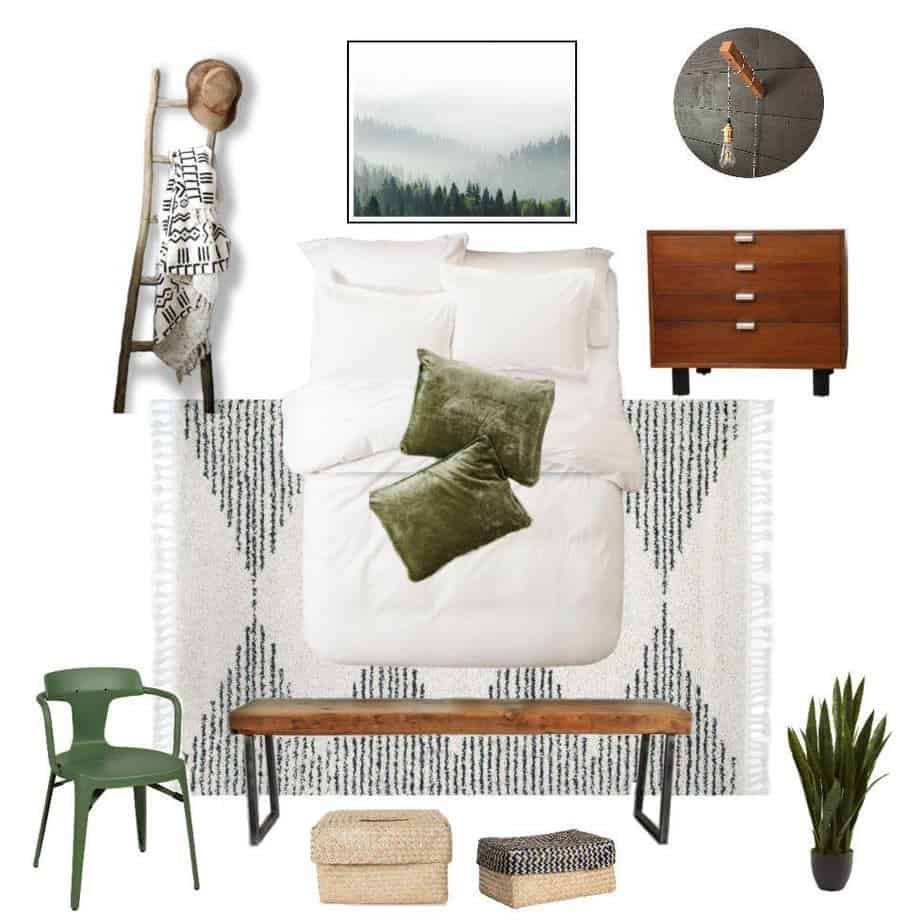 mood board for a cozy minimalist guest bedroom using a color palette of black, white, green, and warm wood tones. Texture is added with plants, velvet pillow shams, the throw blanket, a rug, and baskets.