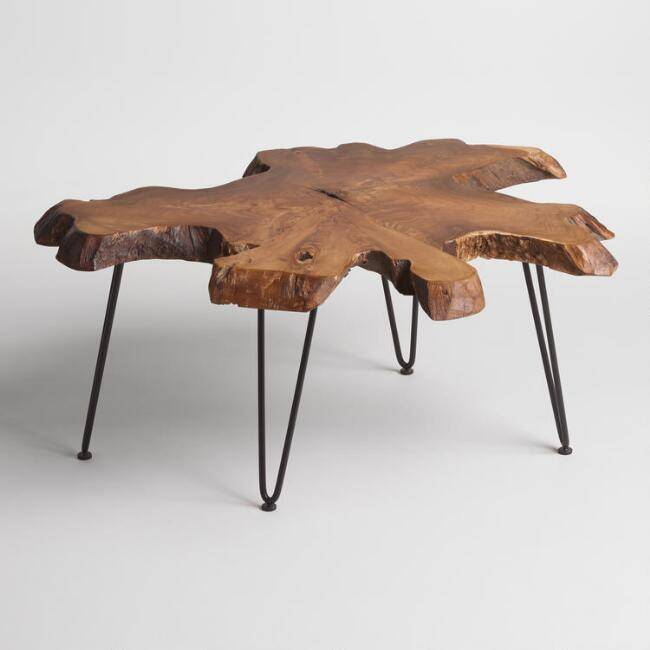 Wood slice coffee table from World Market