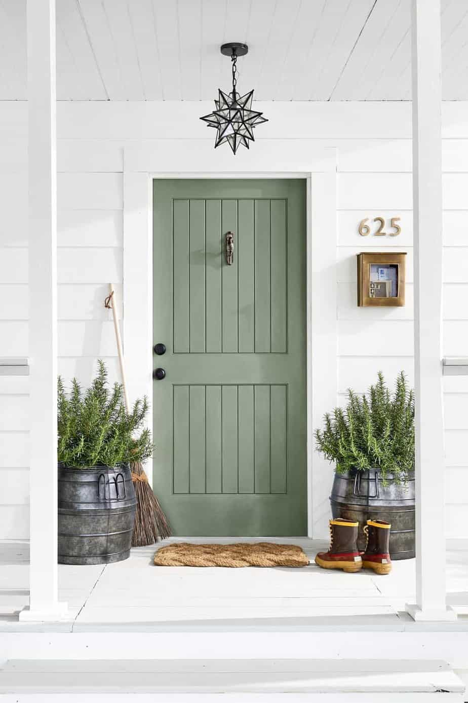 Green Front door makeover using Artichoke by Sherwin Williams photo by Country Living