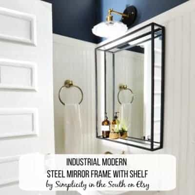 Modern Industrial Mirror with Shelf - Simplicity in the South on Etsy