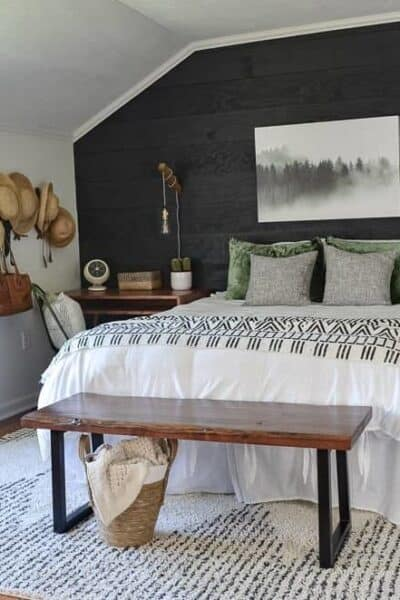 black shiplap cozy minimalist guest bedroom reveal