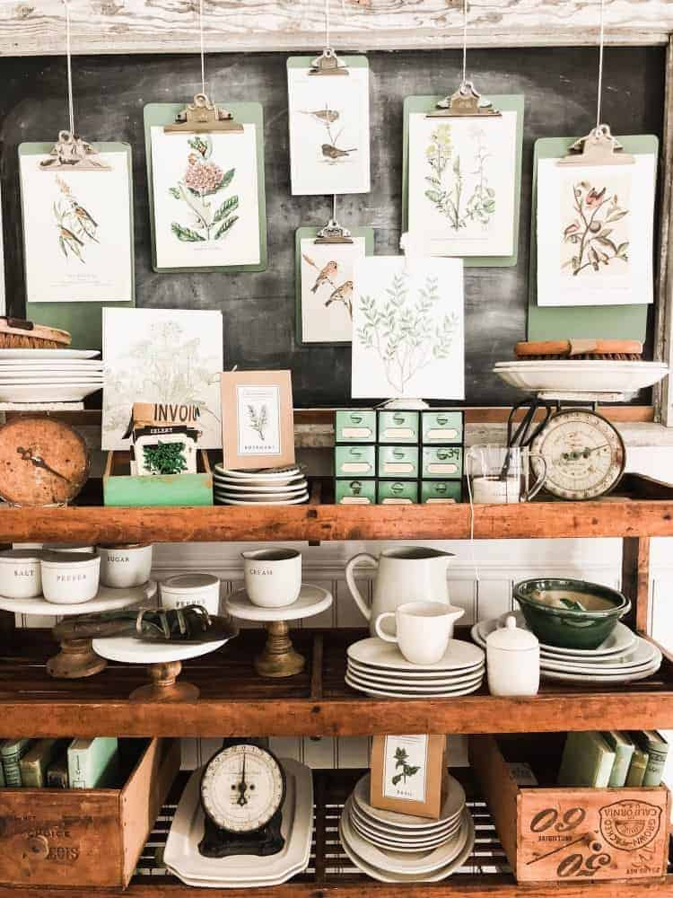 botanical prints on green clipboards by Liz Marie Blog