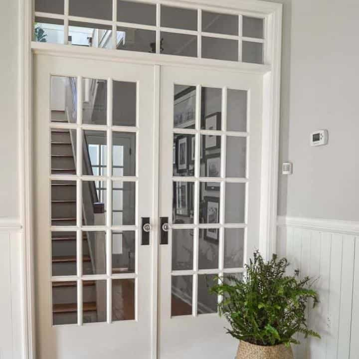 how to add interior french door with a transom window to a hallway