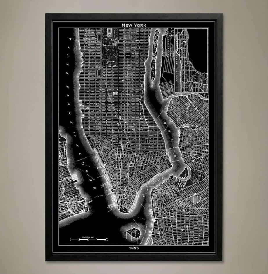 Geo Art Shed on Etsy Lithograph New York City Map