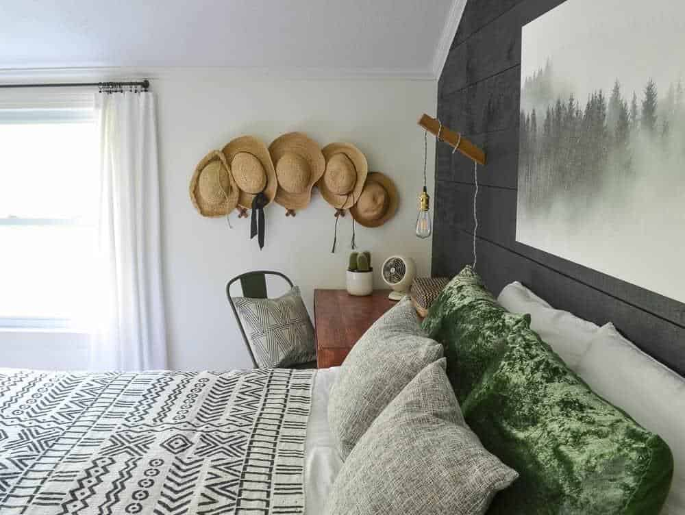 straw hat collection cozy minimalist guest bedroom reveal