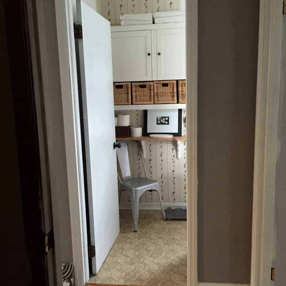 bathroom made into a walk-in pantry