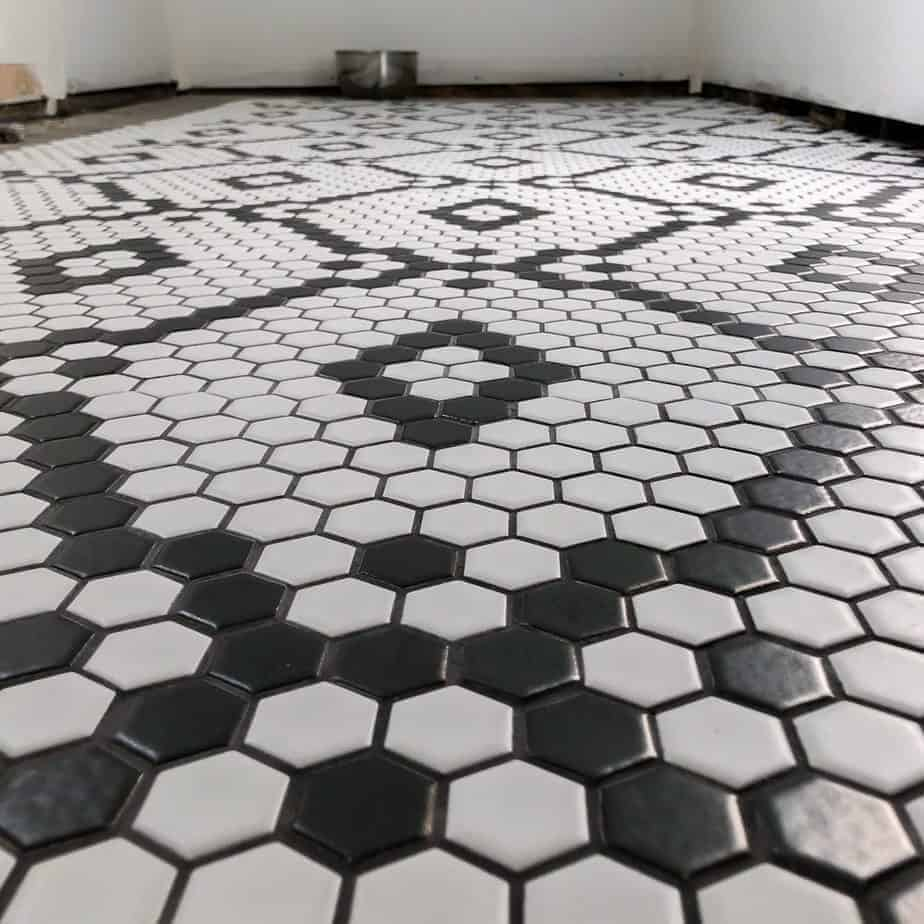 black and white hexagon diamond tile