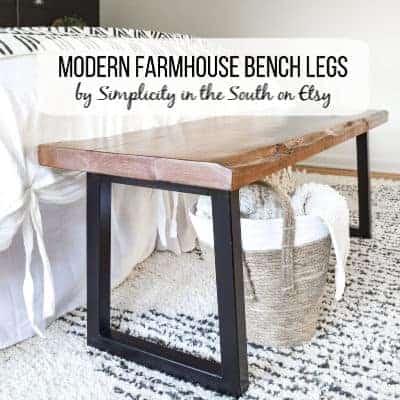 modern farmhouse steel trapezoid metal bench legs