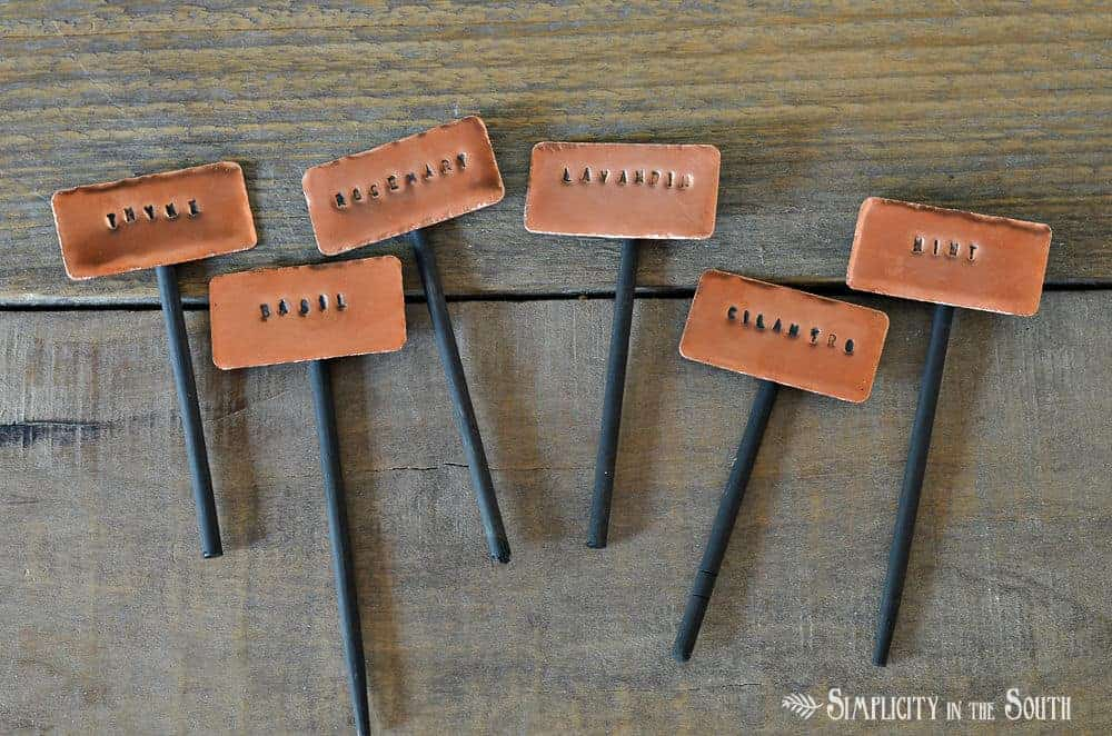 DIY herb garden markers using stamped copper labels (1)