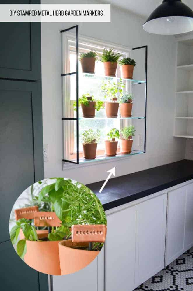 make your own herb garden markers out of stamped metal