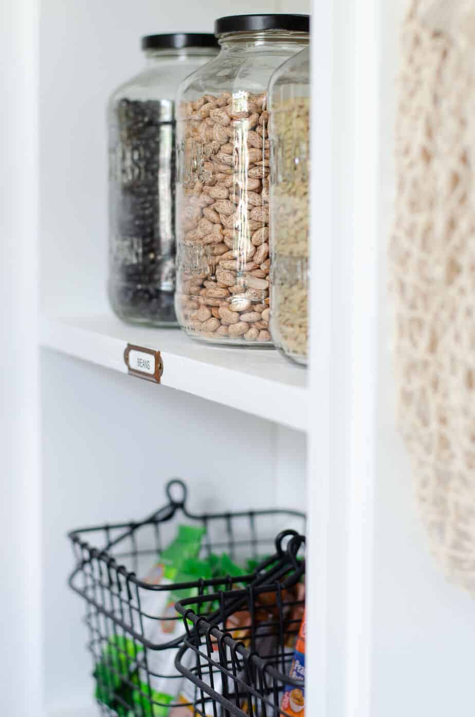 pantry storage jars and baskets