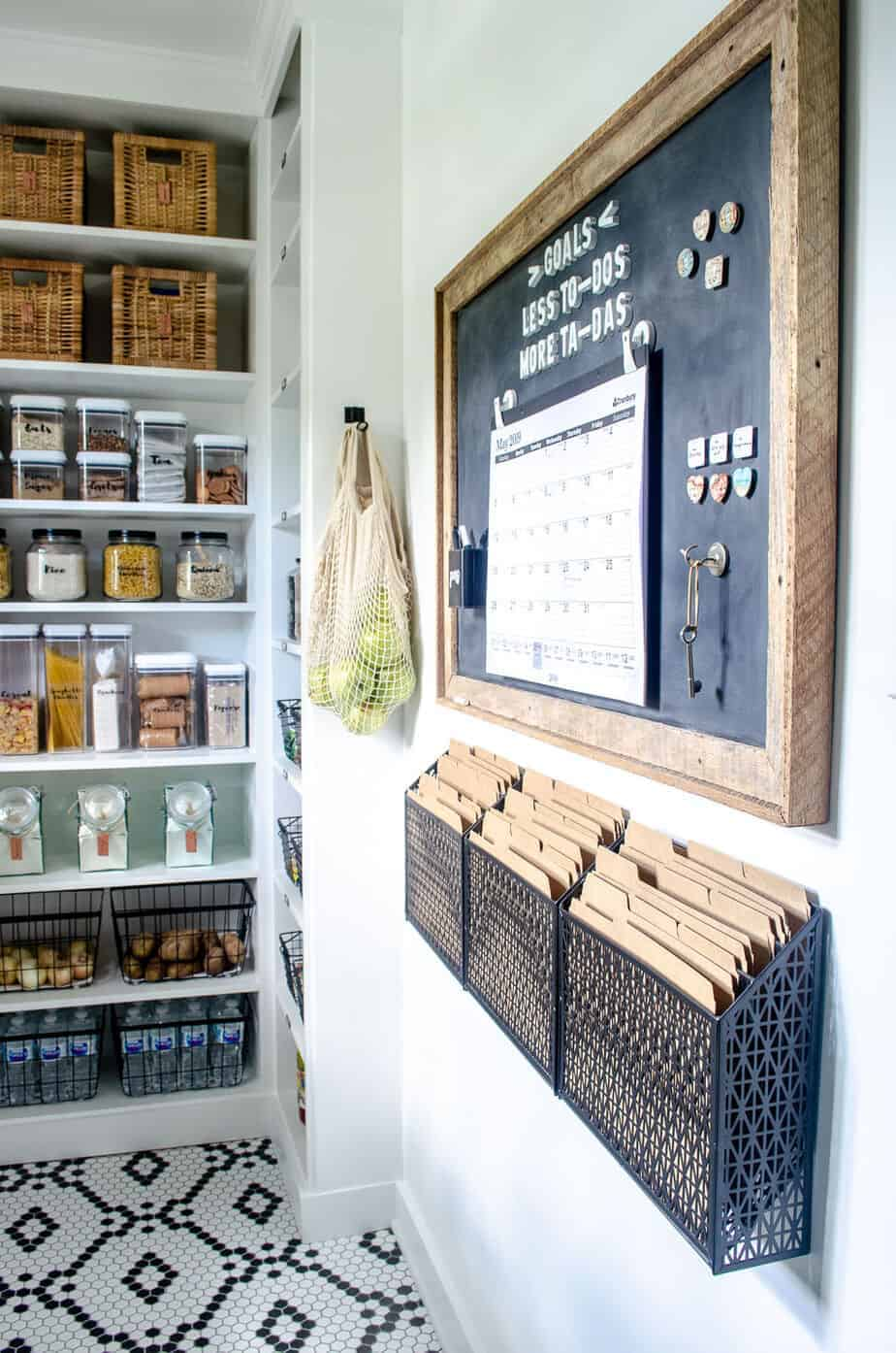 walk in pantry organization idea using a magnetic board and command center