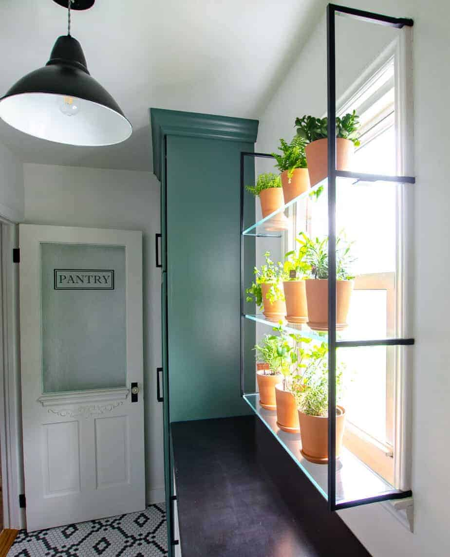 walk-in pantry reveal with window herb garden