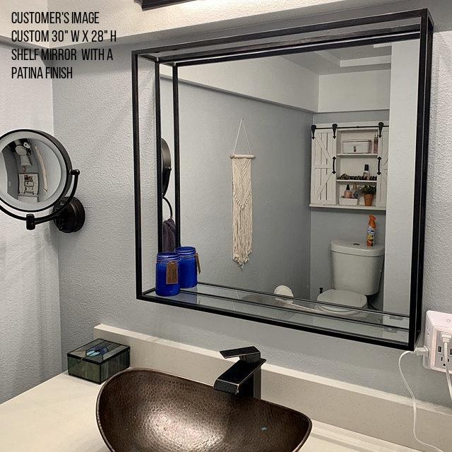 "Custom 30"" W x 28"" H shelf mirror with a patina finish"