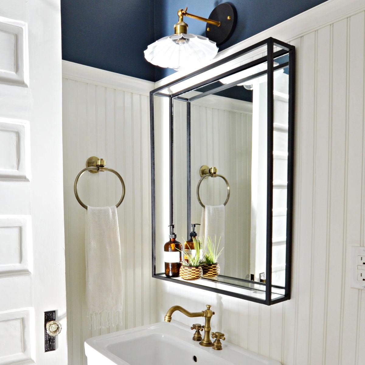 Modern Industrial Black Steel Metal Framed Bathroom Mirror With A