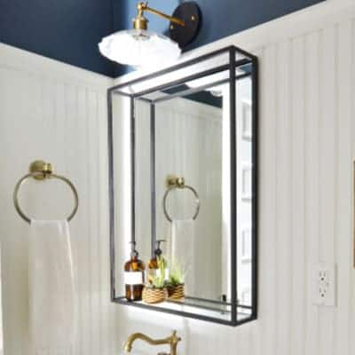 Modern black steel mirror with shelf Etsy