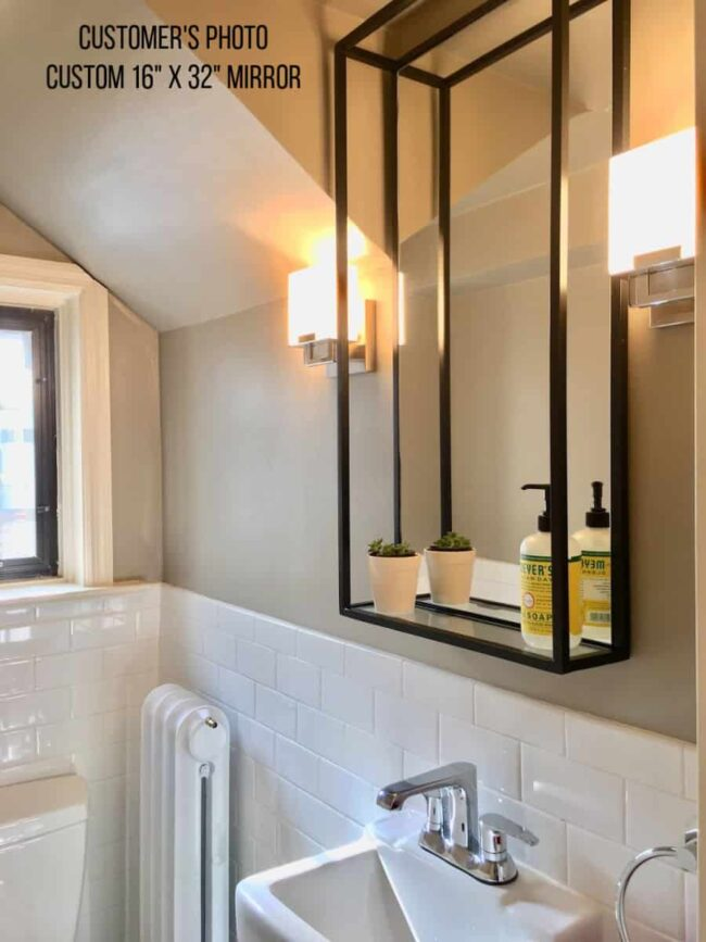 The Modern Industrial Shelf Mirror with a double frame customer photo