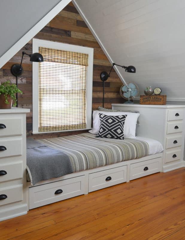 dormer bedroom with built in bed