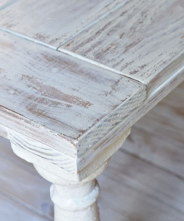 Distressed coffee table painted with MMS milk paint