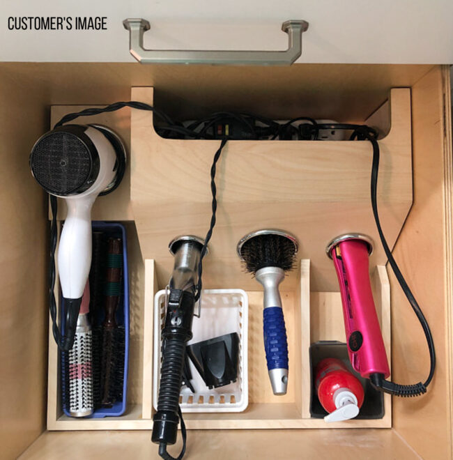 Custom hair tool grooming drawer organizer
