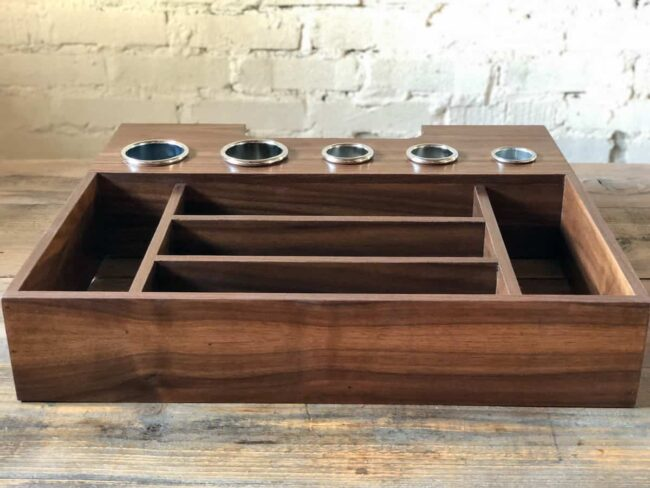 """Julianne style bathroom walnut drawer organizer for hair tools with an open back to access the powerstrip made for Suzannah 