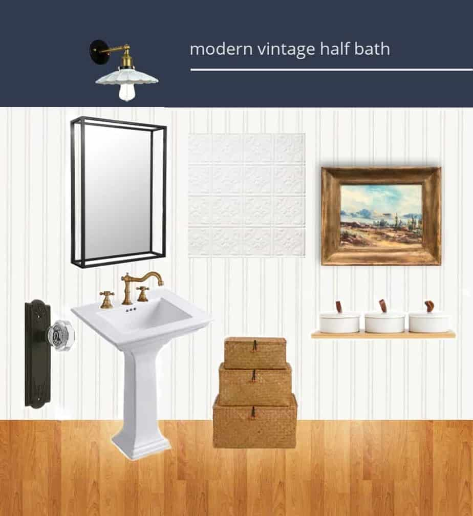 Modern Vintage Half Bathroom Design Board