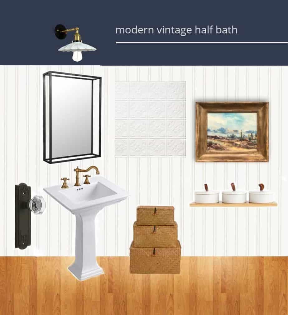 Modern Vintage Half Bathroom Design Board
