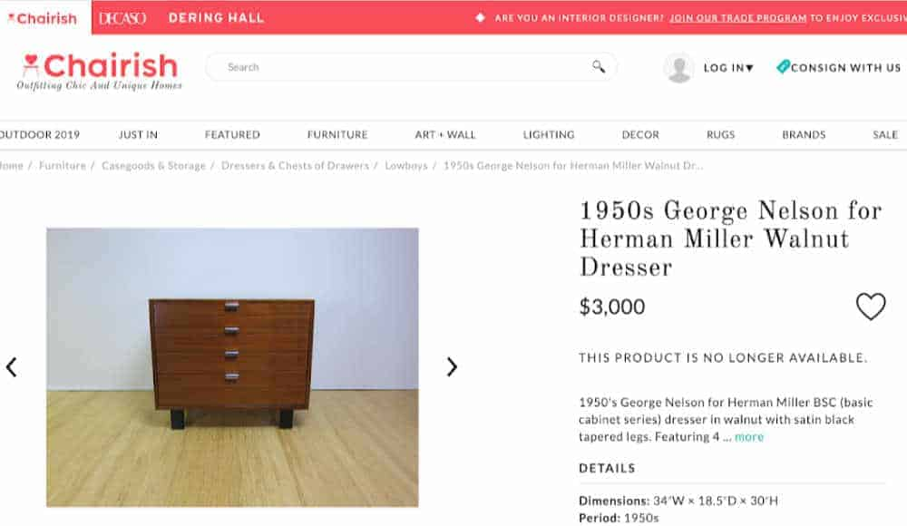 George Nelson for Herman Miller dresser on Charish