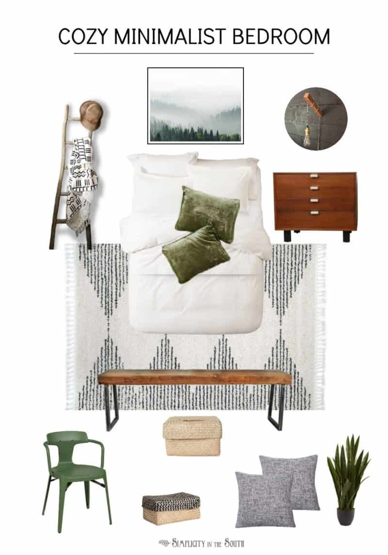 Cozy minimalist bedroom mood board with a combination of black, white, green, and wood tones. There are layers of texture with the global throw blanket, Moroccan print rug, velvet pillow shams, and baskets.