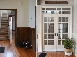 before and after french doors and transom window